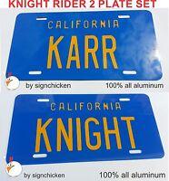 "KNIGHT RIDER TRANS AM ""KNIGHT"" & ""KARR"" license plate SET DAVID HASSELHOFF KITT,"