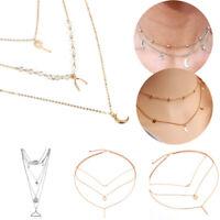 Women Girls Boho Multilayer Clavicle Choker Necklace Jewelry Gift Fashion