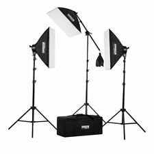 Studiopro 2500 W Photo & Video Studio 3 Light & Boom Arm softbox lighting kit