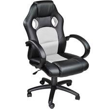 Poltrona sedia ufficio girevole per casa studio sportiva racing nero bianco nuov