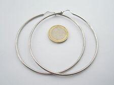 1 paio di orecchini cerchio grande di 75 mm argento 925 rodiato tubolare di 2 mm