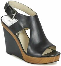 Michael Kors Womens Josephine Wedge Leather Open Toe Casual, Black, Size 8.0 thZ