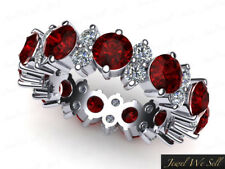 4.85Ct Ruby Diamond Garland Wedding Eternity Band Ring 18k White Gold AAA H SI2