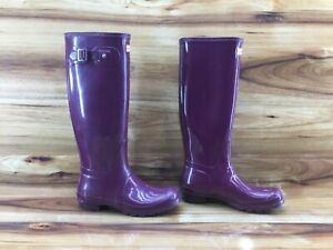Hunter Original Tall Gloss Womens Plum Rubber Rain Boots Ladies Size 8 Excellent