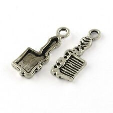 20 Comb Charms Tibetan Silver Hair Brush Pendant