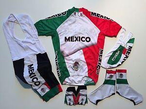 New size 3XL - MEXICO Team Cycling Flag Road Bike Set Jersey Bib Shorts Gloves +