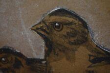 Bird Nature Folk Art Painting Sketch Original Signed Framed Antique VTG 20s 1924