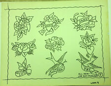 """1960's """"Roses/Mom/Dad/ Birds/Love""""Old School Tattoo Flash Signed Lee Roy Minugh"""