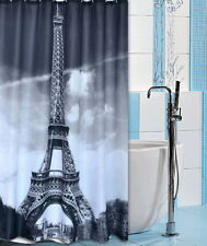 Eiffel Tower Paris Scape Black White Waterproof Bath Shower Curtain Whitout Hook