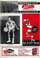 1958-59 NBA MINNEAPOLIS LAKERS vs. ST. LOUIS HAWKS GAME PROGRAM (UNSCORED) NM+