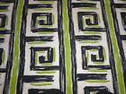 Vtg Spectrum Cotton Barkcloth Fabric Green Greek Key Spiral 46' x 1.75 Yds *TLC*