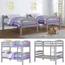 Twin Bunk Beds Kids Bedroom Furniture Wood Grey Ladder Loft Convertible Bunk Bed