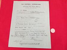 FOOTBALL Combination  Application form for REFERRE / Linesman Season 1948 - 49
