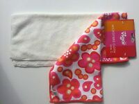 "Vigar Microfiber set of 2 Cloths 14""x12"" White Hot Pink Red Orange Dot Flowers"