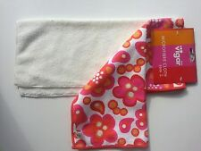 "Vigar Microfiber set of 2 Cloths 14""x12"" White Hot Pink Red Orange Dot Flowers"