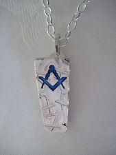 Napkin Clip Pendant - Masonic Compasses and Square - Sterling Silver