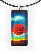 Salvador DALI Meditative Rose Glass Tile Pendant With Necklace