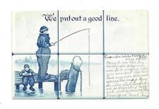 WE PUT OUT GOOD LINE Antique Fishing Off Pier Postcard
