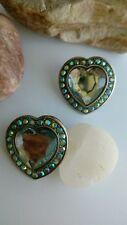 vintage Aurora borealis heart  earrings