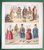 FRANCE French Costume of Saone & Loire - 1888 COLOR Print A. Racinet