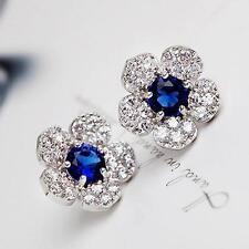 Design Rhinestone Fashion Jewelry Blue Crystal Earrings Flower Ear Studs