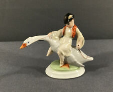 Vtg HEREND Hungary Hand Painted Boy Riding Goose Porcelain Figurine #5415 Signed