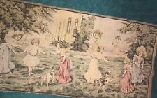 "French Vintage Tapestry Children Playing Dogs Victorian Scene 57"" x  19"" France"