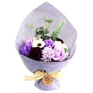 Soap Flower Bouquet Purple Rose & Carnation Unusual Gift