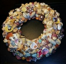 Sea Shell Wreath Handcrafted & highlighted with Vintage & Modern Jewelry