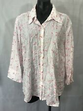 73802c0dc3333 AK Anne Klein Womens Plus Size 20W Pink White Embroidered Top Shirt Button  Up
