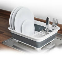 LARGE COLLAPSIBLE FOLDING DISH DRAINER DISH DRAINING BOARD CUTLERY PLATES RACK