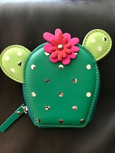 Kate Spade New Horizons Cactus Flower Zip Coin Case Purse Wallet NWT!