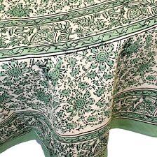 "Handmade Daisy Chain Floral Block Print 100% Cotton Tablecloth Green 72"" Round"