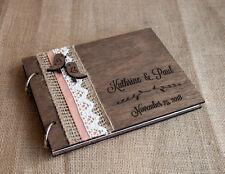 wedding guest book A4, love birds guest book, wood guest book, rustic guest book