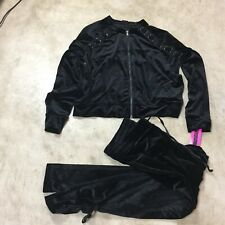 material girl active size Large velour track suit outfit jacket pants 10-19