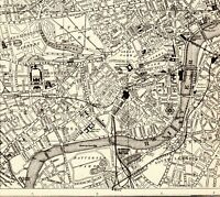 1921 Antique LONDON Map of London England City Street Map Wall Art  8039