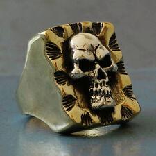 Mexican Biker Ring Skull cross silver Vintage brass men pirate Captain Trucker