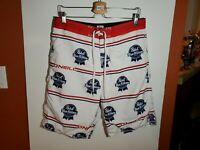 O'Neill Mens size 33 Pabst Blue Ribbon board shorts swim trunks red white blue