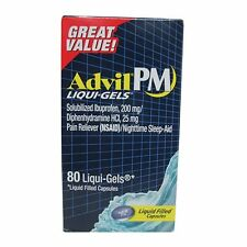 Advil PM Pain Reliever/Nighttime Sleep Aid Liqui-Gels 80ct -Expiration 04-2019-