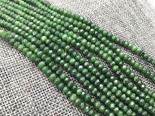 """Faceted 2x4mm Dark Green Emerald Roundel Gemstone Loose Beads 15"""" AAA"""