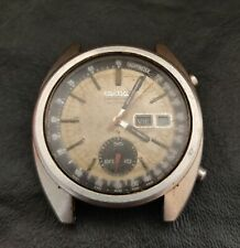 Vintage Seiko 6139-6012 Automatic Chronograph Watch Mens Dial Beige To Restore