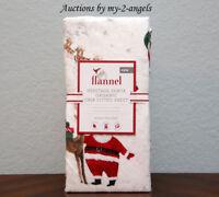 NEW Pottery Barn Kids HERITAGE SANTA Organic Flannel Crib Fitted Sheet Christmas