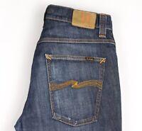 Nudie Jeans Herren Bootcut Barry Gerades Bein Jeans Stretch Größe W34 L34 AVZ536