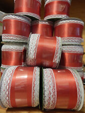 NEW WIRED RIBBON RED WHITE SILVER LACE 2.5 X 12 FT (4 YDS) BOWS HOLIDAY DECOR