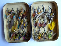 EARLY VINTAGE 24 CLIP MALLOCH SALMON FLY BOX + FLIES