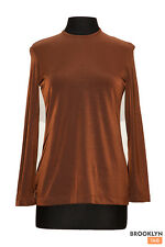 Rene Lezard Brown Top Long Sleeve Womens Size 10 Eur. 40 Stretchy Casual Comfy