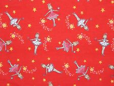 BTHY 1/2y FLANNEL FABRIC PRINCESS FAIRY GODMOTHER BALLERINA Juvenile Novelty Red