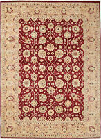 9X12 Hand-Knotted Oushak Carpet Traditional Red Fine Wool Area Rug D41978
