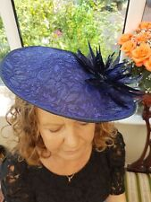 Royal/Navy Lace Fascinator. Sinamay Hatinator shaped Wedding.races. brand new