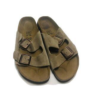 Betula Birkenstock Tan Leather Sandals 41 Slide 2 Strap Arizona Outdoor